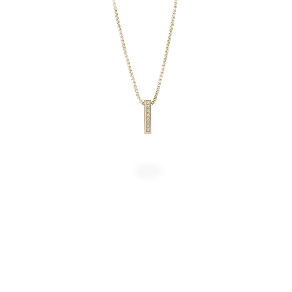 gold minimal bar pendant necklace with stones