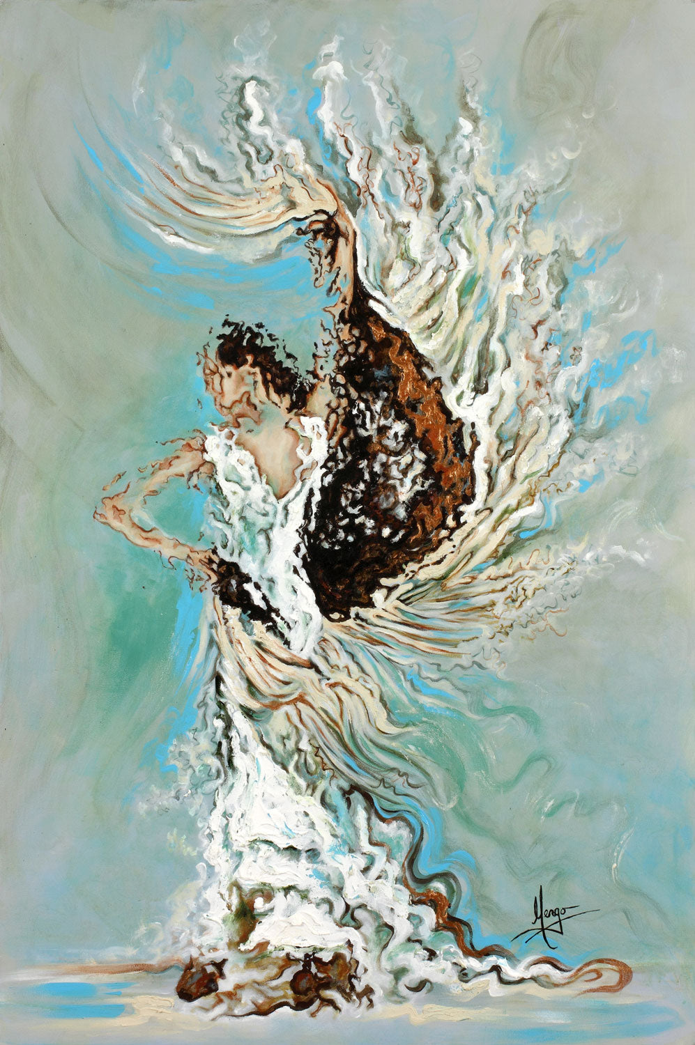 Abstract painting of a flamenco dancer with long white dress and mantel in aqua blue color