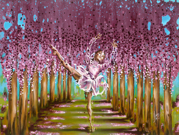 Figure painting of a ballerina girl dancing with tree landscape. Art canvas print for sale