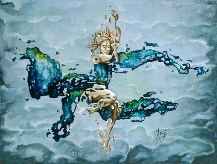 Abstract figurative painting of a woman underwater in blue