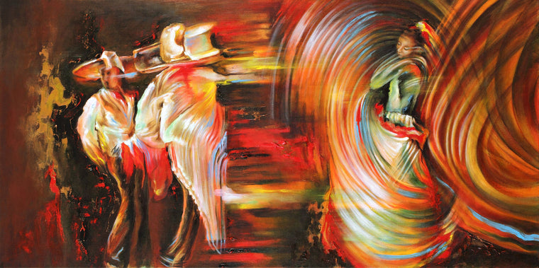 Colorful Abstract FigurePainting of hispanic dancers