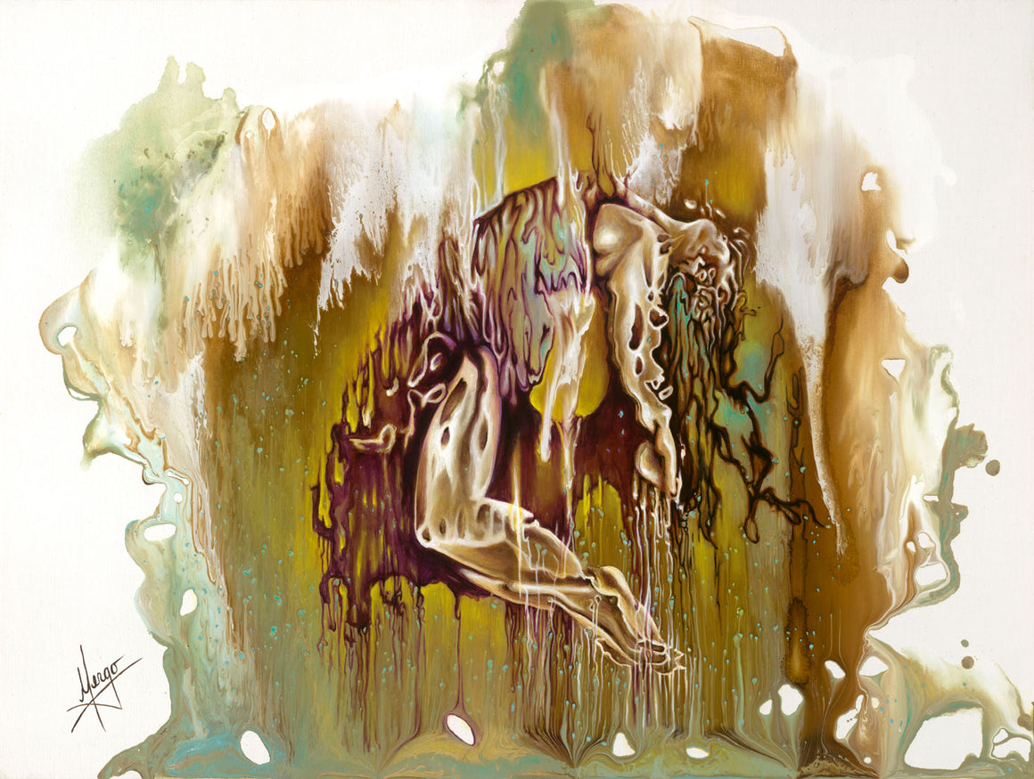Contemporary Abstract Figure Painting of a woman suspended in the airContemporary Abstract Figurative Painting of a woman suspended in the air with dripping technique, green and sepia color