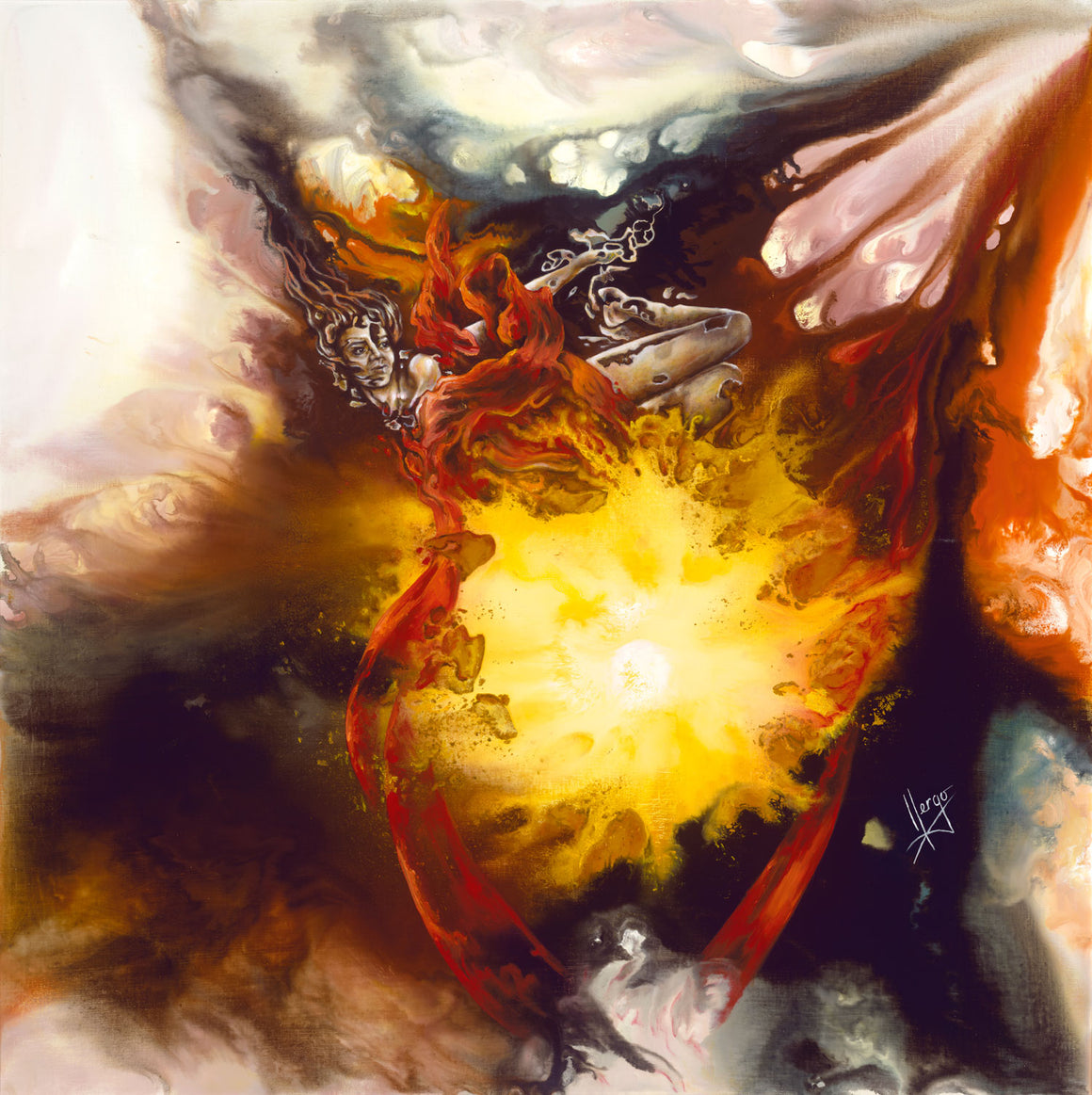 Surreal Abstract Figurative Painting of a Woman Flying around the center of the source of life