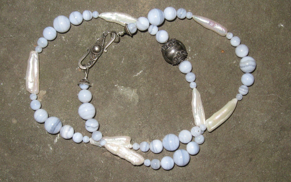 Blue Lace Agate & Freshwater Pearl - Of Coins & Crystals