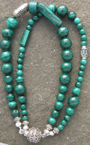 Malachite & Bali Silver Bracelet - Of Coins & Crystals