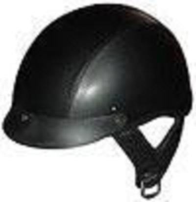 DOT LEATHER SHORTY MOTORCYCLE HELMET-100L-S