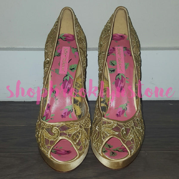 Betsey Johnson Gold Lace Peeptoe Pumps - SOLD!