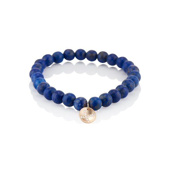 Blue Beaded Gold X Charm Bracelet