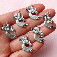 Angel Charms w/ Trumpet (6pcs) (13mm x 22mm / Tibetan Silver) Metal Charms Pendant Bracelet Earrings Zipper Pulls Bookmarks Keychains CHM471