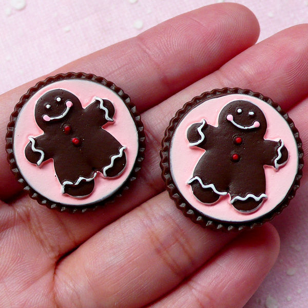 Gingerbread Man Sugar Cookie Cabochon (2pcs / 26mm / Flat Back) Kawaii Miniature Biscuit Dollhouse Sweets Faux Christmas Cookie FCAB252