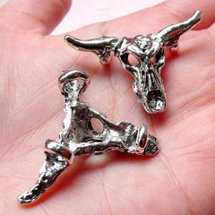 Bull Head Charm Bull Pendant (2pcs / 38m x 25mm / Tibetan Silver) Cow Cattle Ox Bull Taurus Necklace Bracelet Men Jewelry Supply CHM949