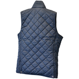 Backside of Navy Blue quilted womens bodywarmer with Institute of Quarrying logo