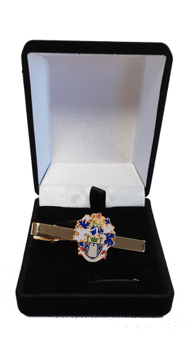 Tie crest slide with the Institute of Quarrying logo on, presented in a black velvet box.