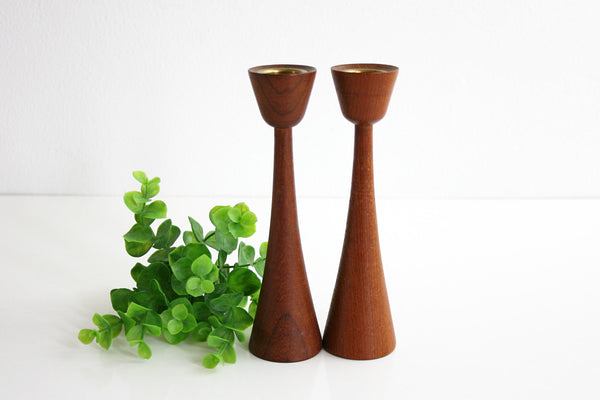 SOLD - Danish Modern Teak Wood Candle Holders by ESA Denmark