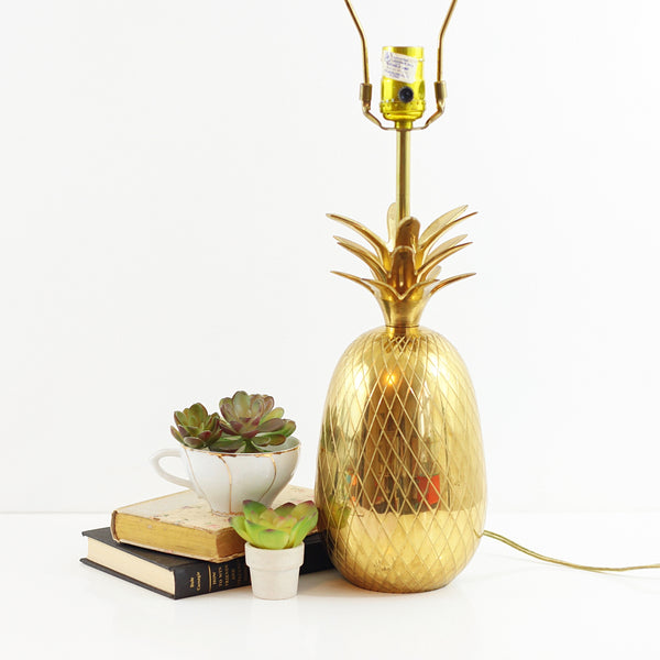 SOLD - XL Vintage Brass Pineapple Table Lamp