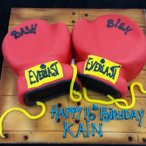 Boxing Gloves Birthday Cake - UK DELIVERY
