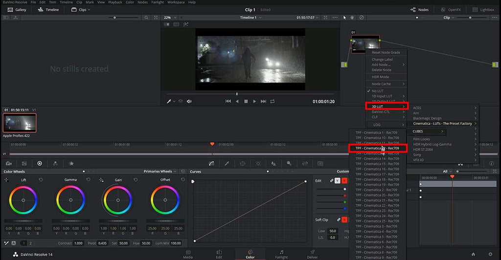 Using LUTs in DaVinci Resolve