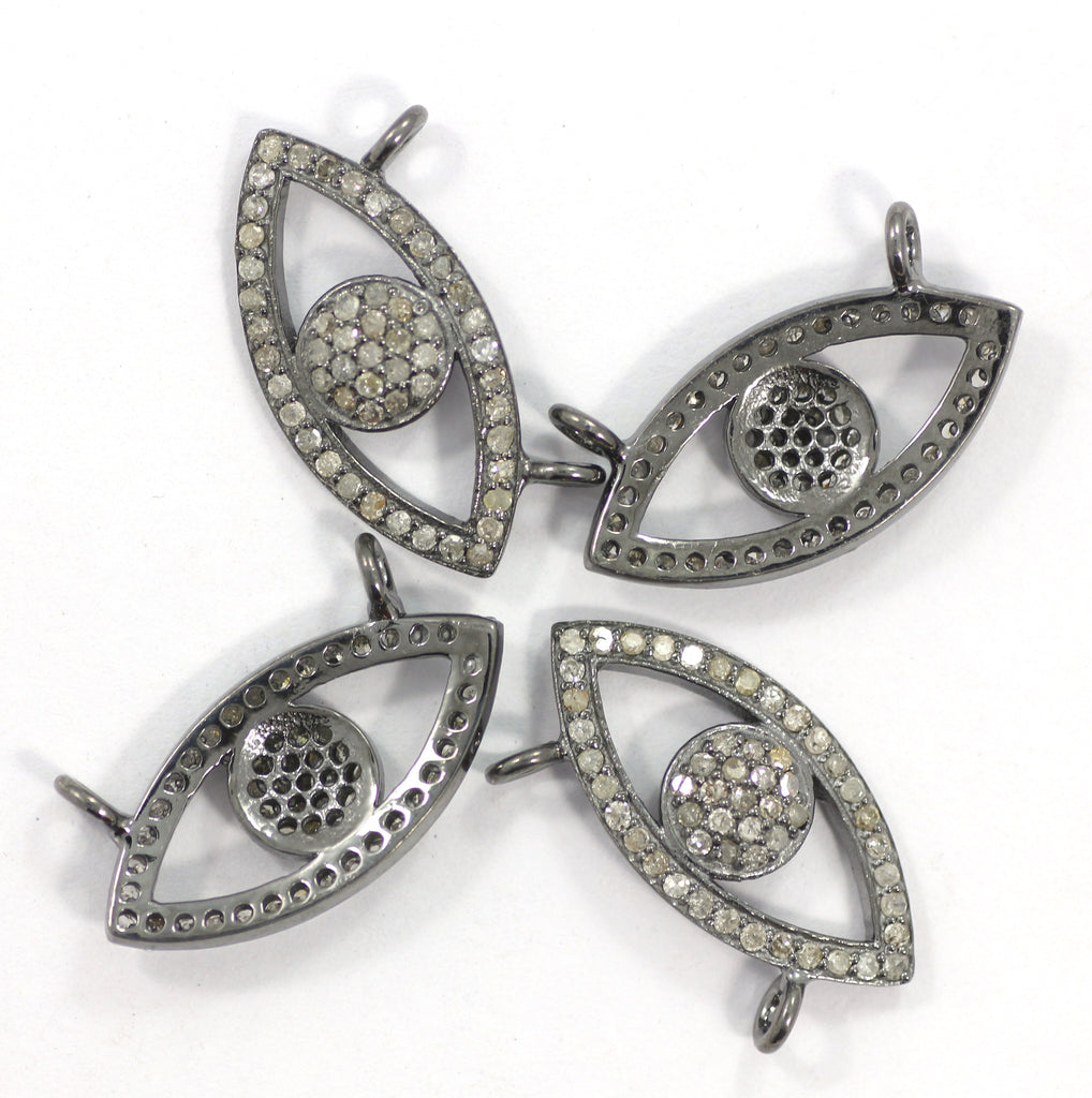 Evil Eye Diamond Charm .925 Oxidized Sterling Silver Diamond Charms, Genuine handmade pave diamond Charm Size 12 x 24 MM