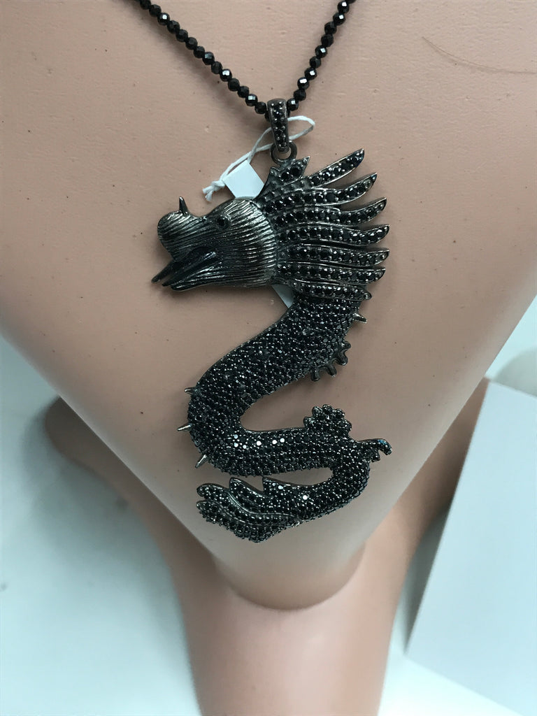 Black Spinel Dragon Charm,Dragon Black Spinel, Pave Black Spinel ,Approx 3.08'' ( 77 x 37 mm) Oxidized Silver, Silver ,Black Spinel