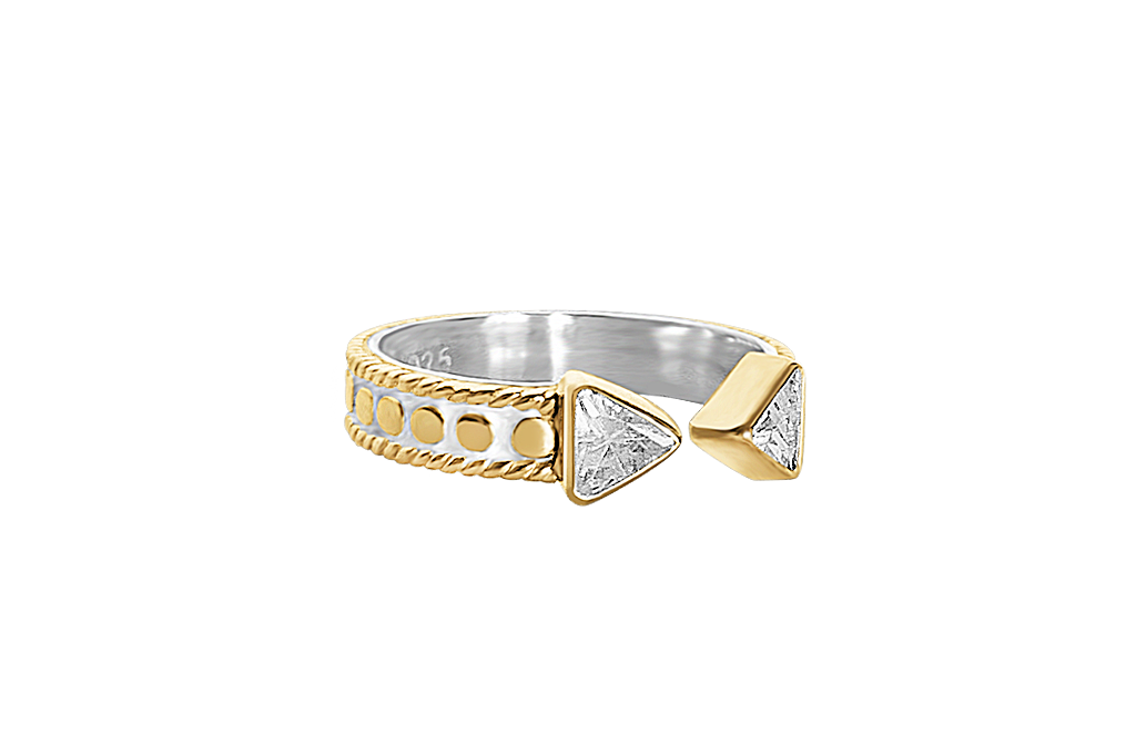 18k yellow gold cuff ring triangle cubic zirconia boho chic stackable jewelry handmade kemmi collection