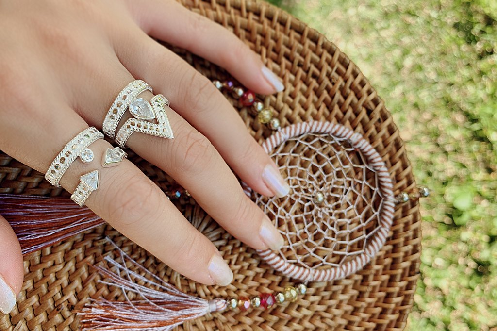 women's white silver ring v shape peak style jewelry handmade bohemian kemmi collection