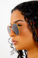 Neon Orange Aviator Sunglasses