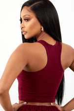 Burgundy Racer Back Crop Top