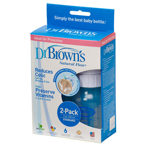 Dr Brown's 2oz Natural Flow Baby Bottle 2-Pack
