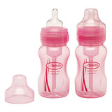 Dr Brown's 8oz Natural Flow Wide-Neck Baby Bottle (Pink), 2-Pack