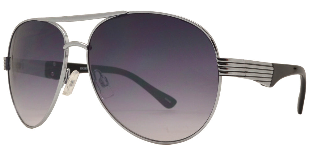 Dynasol Eyewear - Wholesale Sunglasses - OX 2827 - Classic Metal Aviator with Brow Bar and Detailed Temple Sunglasses - sunglasses