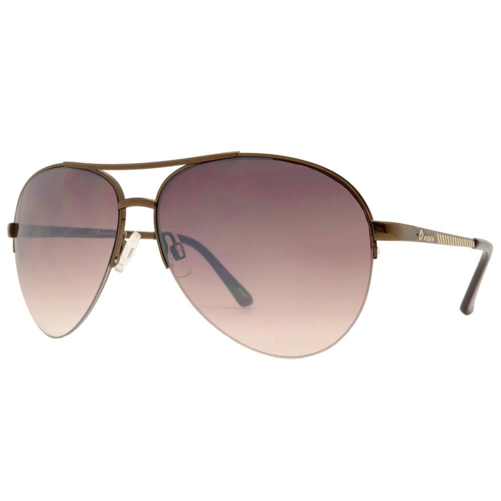 Dynasol Eyewear - Wholesale Sunglasses - OX 2838 - Classic Aviator Half Rimmed with Brow Bar Metal Sunglasses - sunglasses