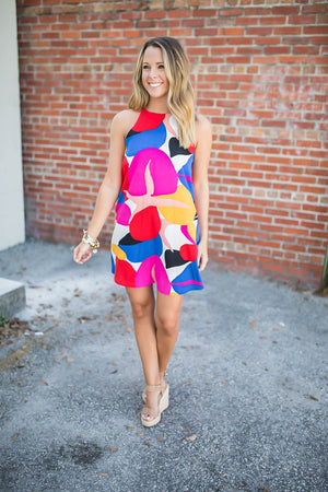 Geometric Shift Dress - Pink Multi - A Cut Above Boutique