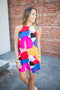 Geometric Shift Dress - Pink Multi
