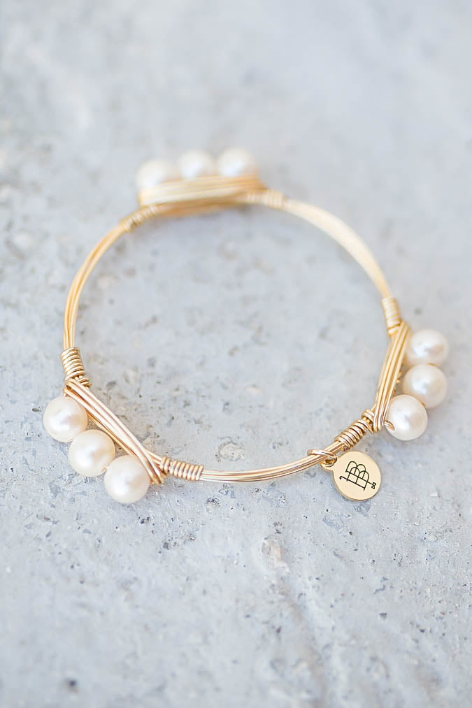 Bourbon And Boweties - 3 Pearl Bangle - A Cut Above Boutique