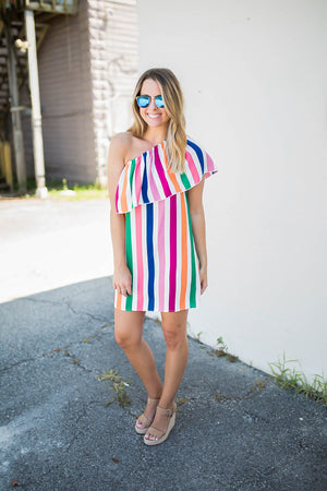 She's Colorful One Shoulder Dress