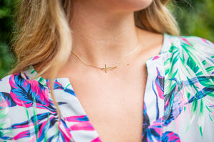 Dainty Sideways Cross Choker - Gold - A Cut Above Boutique