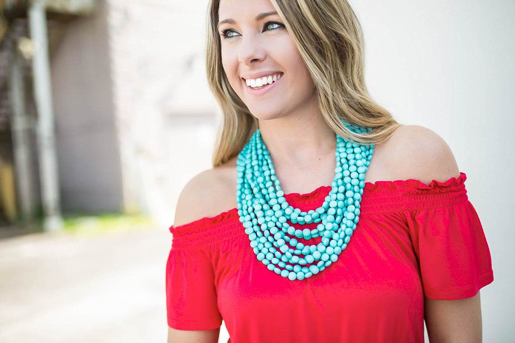 Stacked Up Beaded Necklace - Turquoise