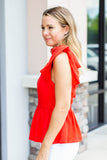 Tie It V-Neck Peplum Tank