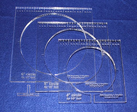 "3 Piece Inside Circle Set W/rulers ~3/8"" Thick - Long Arm- For 1/2"" Foot"