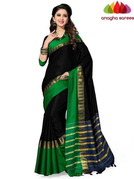 Anagha Sarees Cotton-silk Soft Cotton-Silk Saree - Black/Green ANA_524