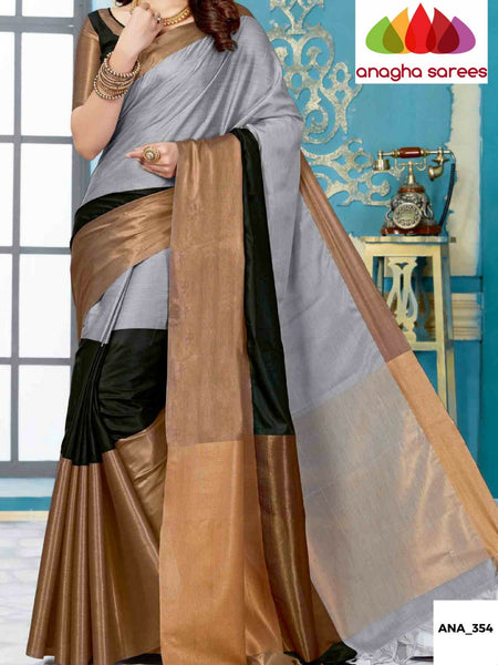 Anagha Sarees Cotton-silk Soft Cotton-Silk Saree - Grey/Black  ANA_354