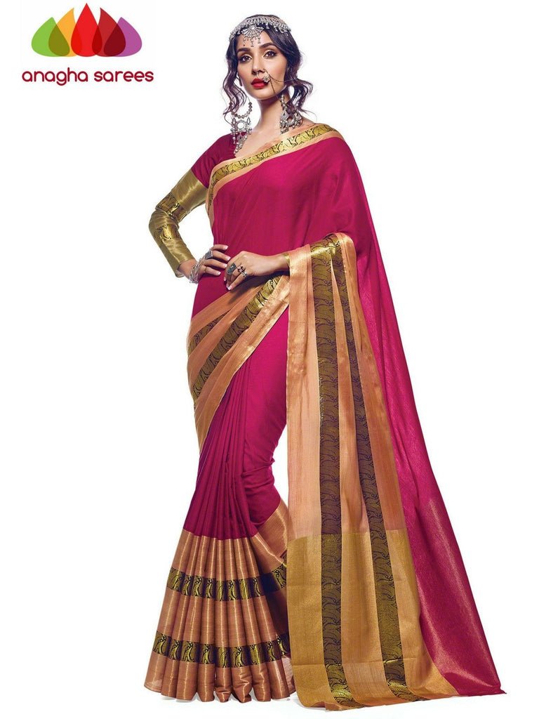 Anagha Sarees Cotton-silk Soft Cotton Silk Saree - Pink  ANA_571