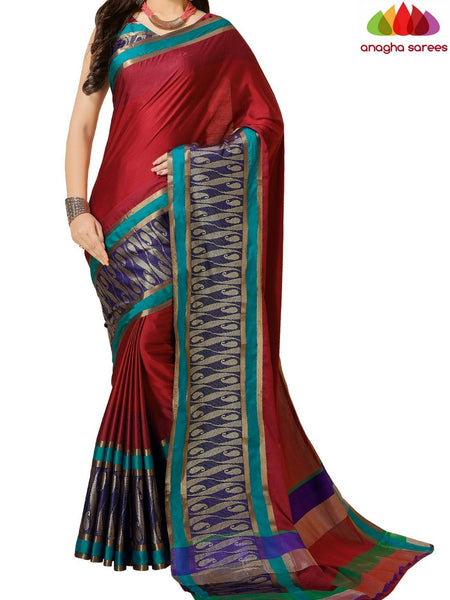 Anagha Sarees Cotton-silk Soft Cotton-Silk Saree - Red ANA_B79