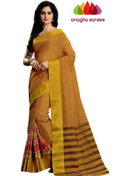 Designer Pure Cotton Embroidery Saree - Mustard ANA_786 - Anagha Sarees