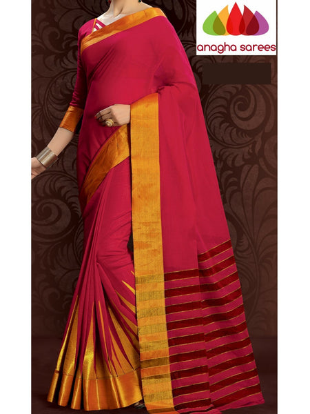 Designer Pure Cotton Embroidery Saree - Red ANA_791 - Anagha Sarees