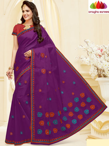 Anagha Sarees Pure Cotton Length=6.2 m with blouse / Purple Cotton Embroidery Saree - Purple : ANA_H58