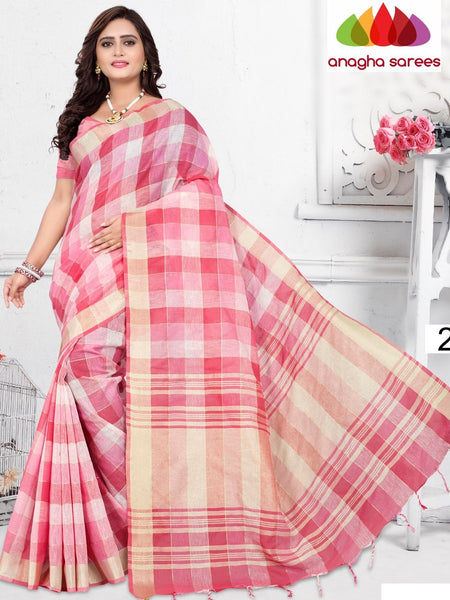 Anagha Sarees Pure Cotton Length=6.2 m with blouse / Sky Blue Rich Linen Cotton Saree - Peach : ANA_H80