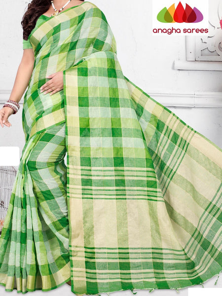 Anagha Sarees Pure Linen Cotton Length=6.2 m with blouse / Green Rich Cotton Linen Saree - Green : ANA_H84
