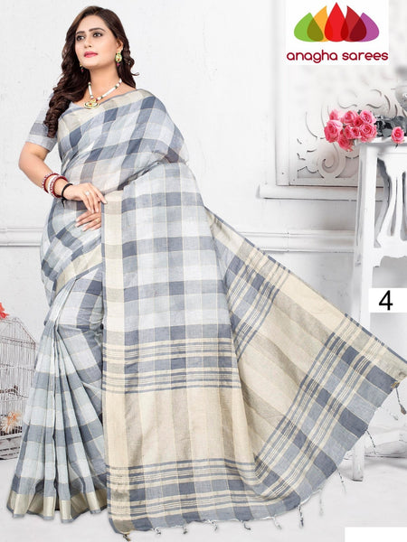 Anagha Sarees Pure Linen Cotton Length=6.2 m with blouse / Grey Rich Cotton Linen Saree - Grey : ANA_H82