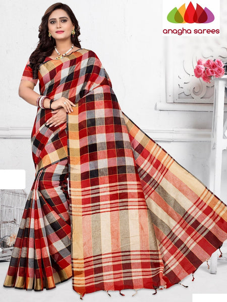 Anagha Sarees Pure Linen Cotton Length=6.2 m with blouse / Red & Black Rich Cotton Linen Saree - Red & Black : ANA_H86